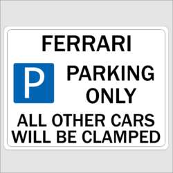 Ferrari Parking Sign