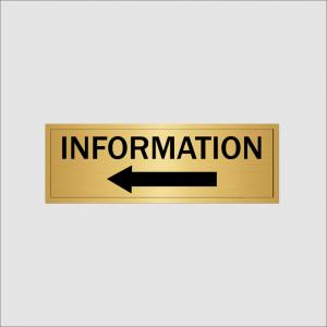 Information left hand arrow gold