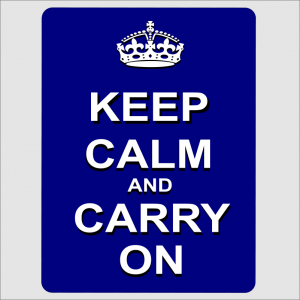 Keep Calm and Carry On Blue