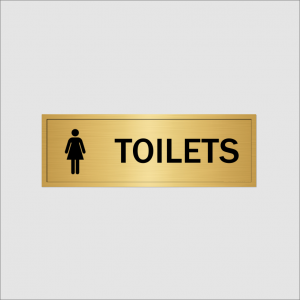 Ladies Toilet Sign Gold