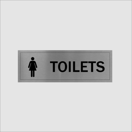 Ladies Toilet Sign Silver