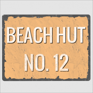 Numbered Beach Hut Sign