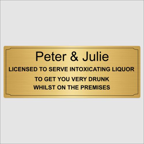 Personalised Bar Sign Lic Gold