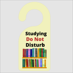 Studying Do Not Disturb Door Hanger
