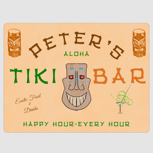 Personalised Tiki Bar Wall Plaque