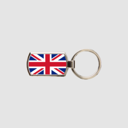 Union Jack Key Ring Chrome Metal Keyring