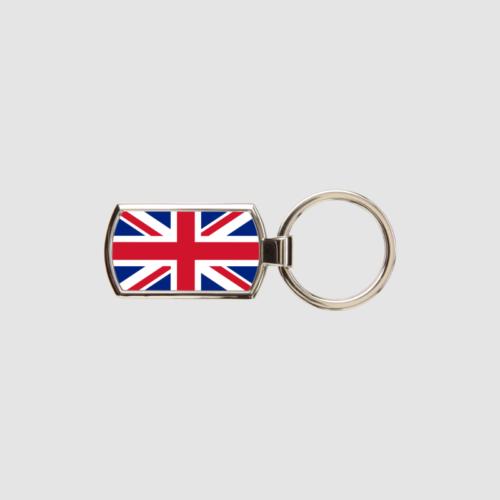 Union Jack Key Ring Chrome Metal Keyring