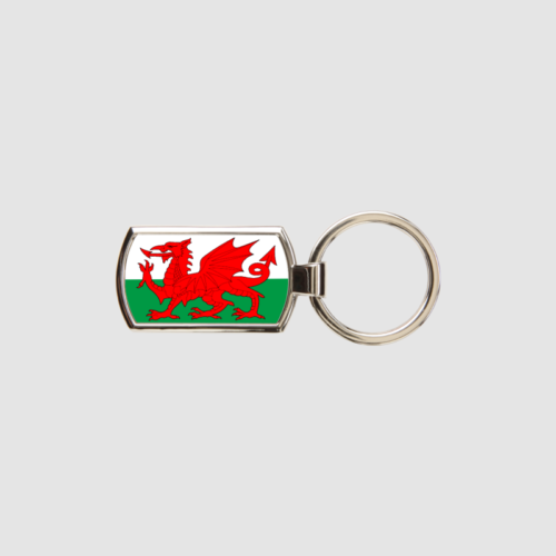 Welsh Flag Key Ring Chrome Metal Keyring