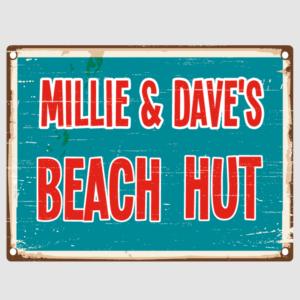 Distressed Beach Hut Sign