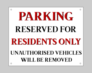 Residents Parking Signs