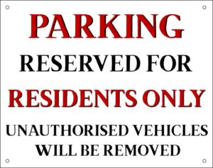 novelty signs parking no border