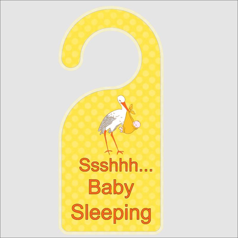 ssshhh baby sleeping with stork door hanger