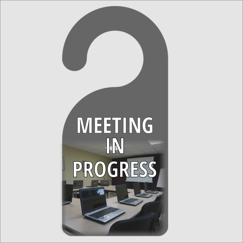 meeting in progress door hanger
