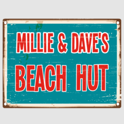 Distressed Beach Hut Sign